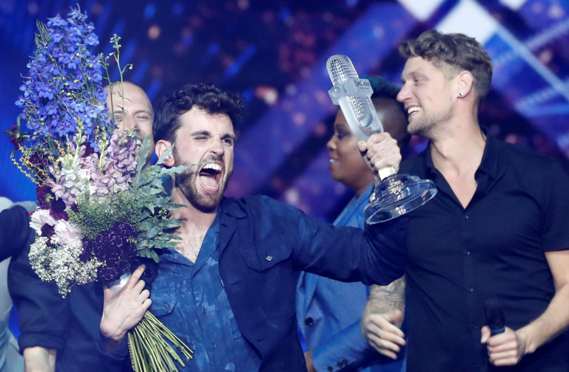 Duncan Laurence of the Netherlands reacts after winning the 2019 Eurovision Song Contest (photo credit: REUTERS/Ronen Zvulun)
