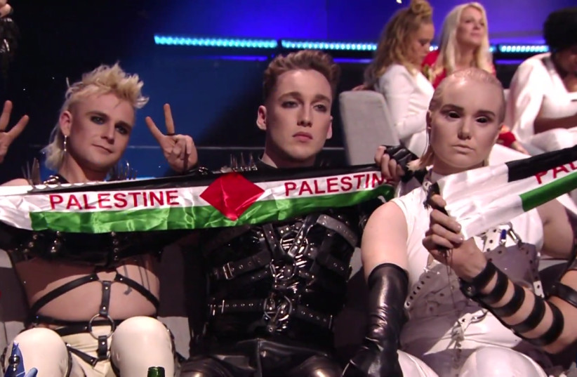 "Iceland's Hatari unveils ""Palestine"" banners on camera whilst receiving their score, Eurovision 2019 (photo credit: SCREENSHOT/KAN)"