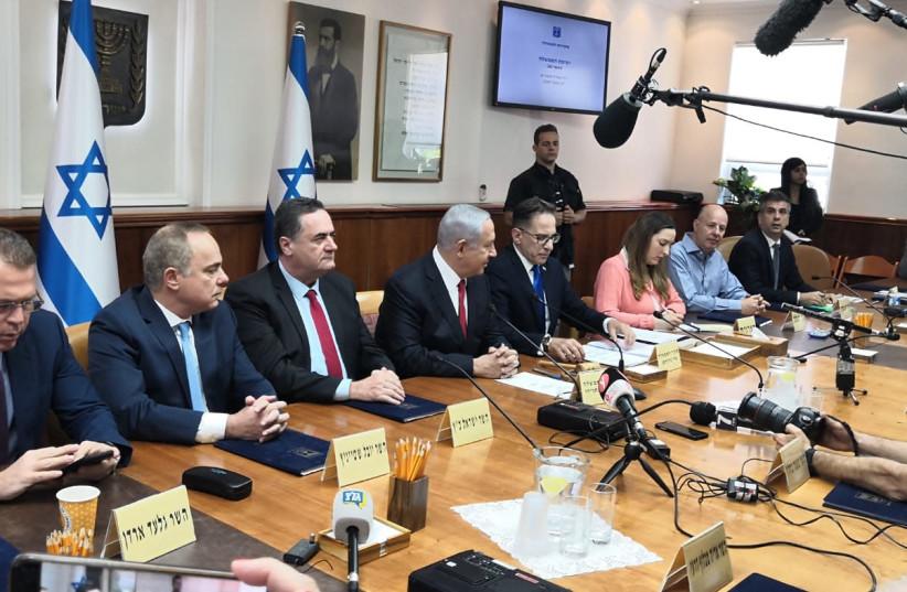 Prime Minister Benjamin Netanyahu at a cabinet meeting (photo credit: YANIR COZIN / MAARIV)