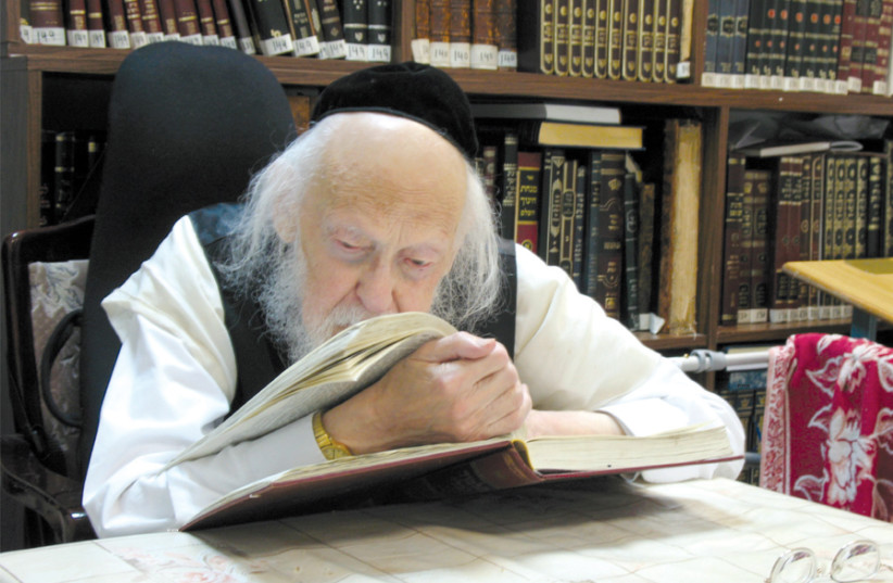 THE LATE Rabbi Yosef Shalom Elyashiv learns Torah. (photo credit: Wikimedia Commons)