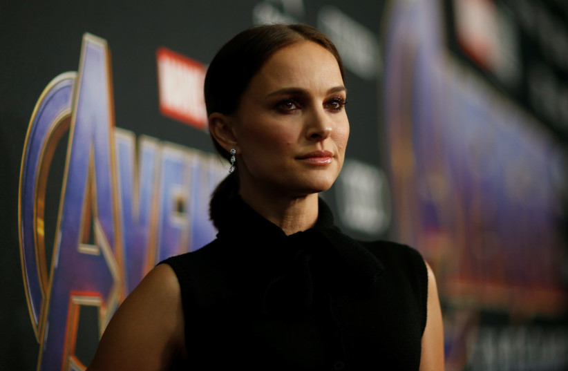 """Actor Natalie Portman poses at the world premiere of the film """"The Avengers: Endgame"""" in Los Angeles, California, April 22, 2019 (photo credit: MARIO ANZUONI/REUTERS)"""