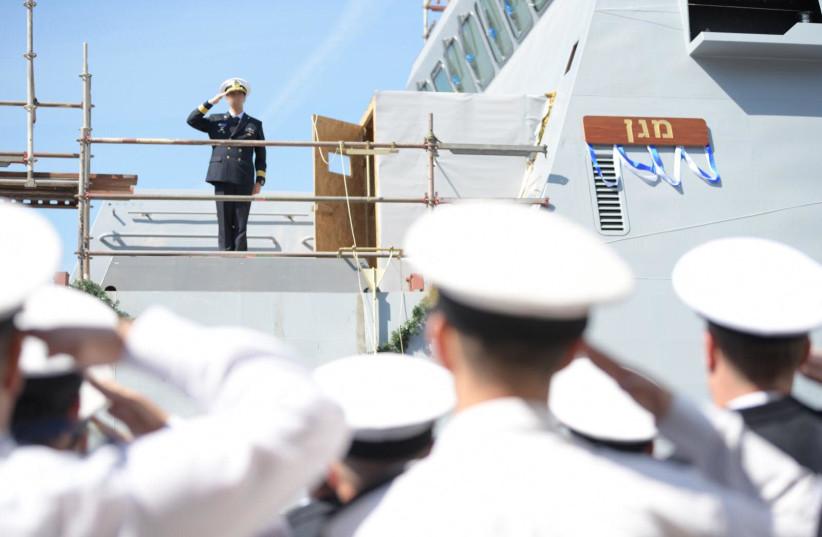 Israeli Navy inaugurates first Saar 6 corvette (photo credit: IDF SPOKESPERSON'S UNIT)