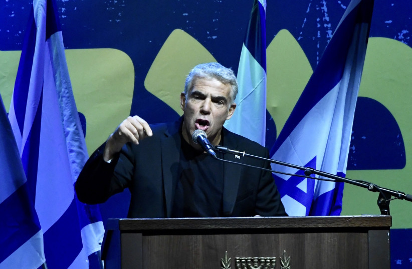 """You are not above the law."" MK Yair Lapid speaks at a rally protesting Supreme Court override bill (photo credit: AVSHALOM SASSONI)"