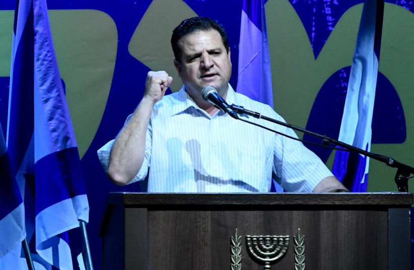 MK Ayman Odeh, co-head of the Israeli-Arab Hadash-Ta'al party at a rally supporting the Supreme Court in Tel Aviv, May 25, 2019 (photo credit: AVSHALOM SASSONI/ MAARIV)