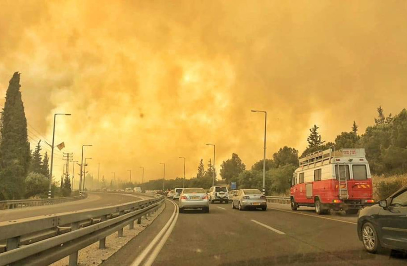 Wildfires in Mevo Modi'm, May 23, 2019 (photo credit: ISRAEL FIRE AND RESCUE SERVICES CENTER DIVISION)