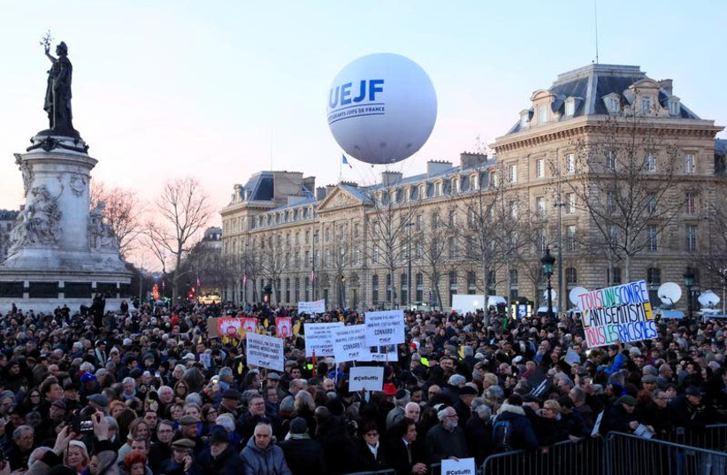 People attend a national gathering to protest antisemitism and the rise of anti-Semitic attacks in the Place de la Republique in Paris, France, February 19, 2019. (photo credit: REUTERS/GONZALO FUENTES)