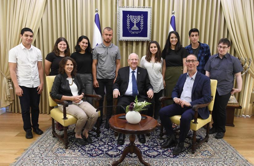 President Rivlin with Van Leer Prize winners, 26 May 2019. (photo credit: MARC NEYMAN/GPO)