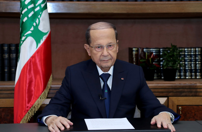 Lebanese President Michel Aoun talks on the eve of the country's 75th independence day at the presidential palace in Baabda, Lebanon November 21, 2018. (photo credit: DALATI NOHRA / REUTERS)