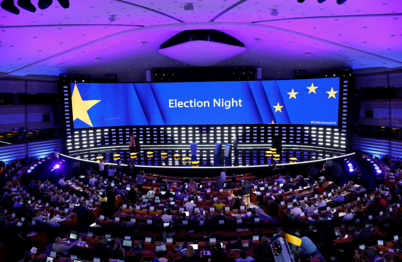A general view of the Plenary Hall during the election night for European elections at the European Parliament in Brussels, Belgium, May 27, 2019 (photo credit: FRANCOIS LENOIR / REUTERS)