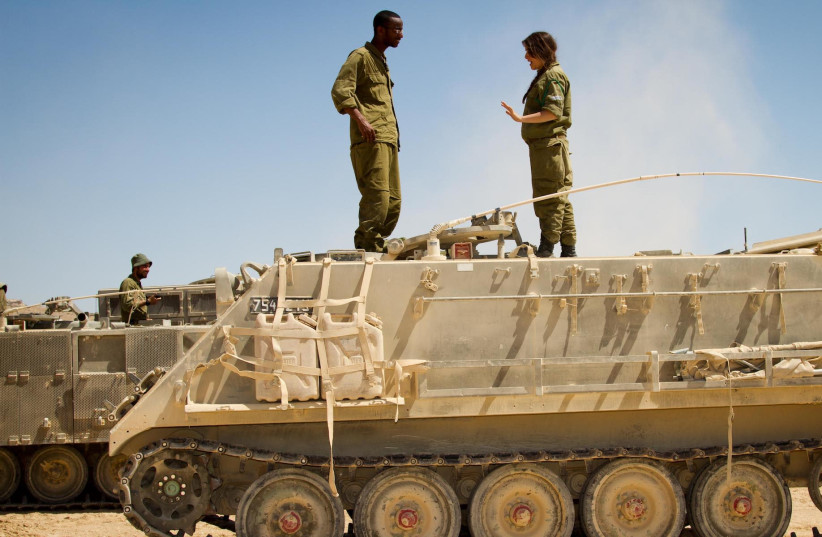Soldiers at tank and Air Force training in the northern Negev (photo credit: DEBBIE ZIMELMAN)
