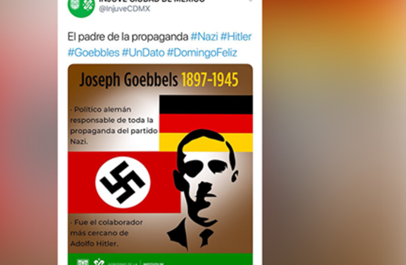 Mexico City's youth department tweet featuring Joseph Goebbels (photo credit: TWITTER)