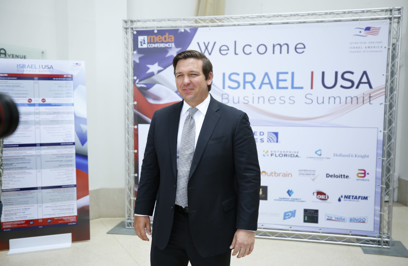 Florida Governor Ron DeSantis addresses the Israel-USA Business Summit 2019, May 29, 2019 (photo credit: OHAD GIGI)