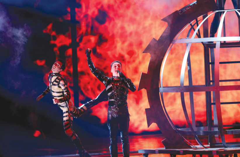 ICELAND'S HATARI sings 'Hate Will Prevail' at the Eurovision Song Contest in Tel Aviv earlier this month.  (photo credit: REUTERS)