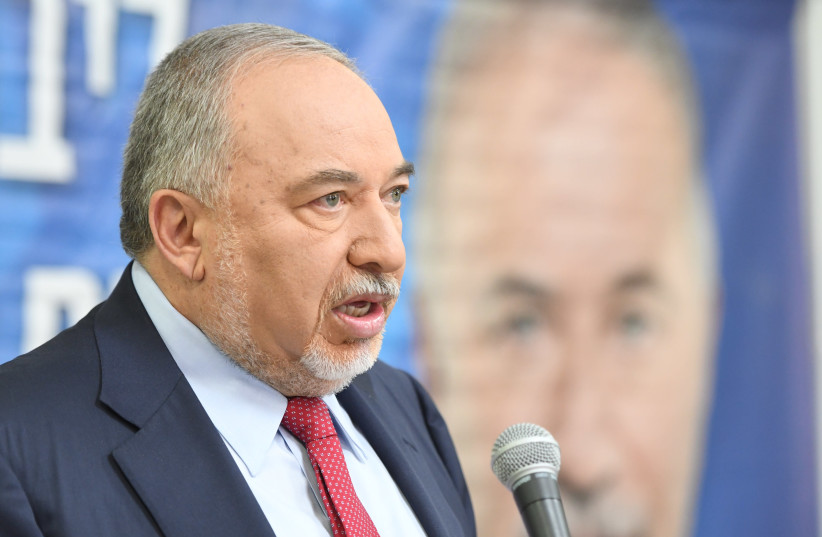 Yisrael Beytenu leader Avigdor Liberman speaking at a press conference in Tel Aviv on May 30th, 2019 (photo credit: AVSHALOM SASSONI/ MAARIV)