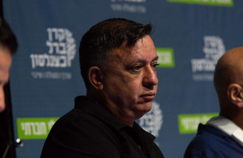 Labor leader Avi Gabbay speaking at the Berl Katznelson Center conference (photo credit: ARTHUR LANDA)