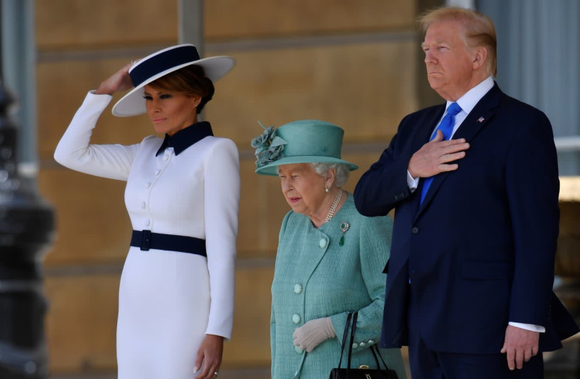 U.S. President Donald Trump and First Lady Melania Trump meet with Britain's Queen Elizabeth at Buckingham Palace, in London, Britain, June 3, 2019.  (photo credit: TOBY MELVILLE/REUTERS)