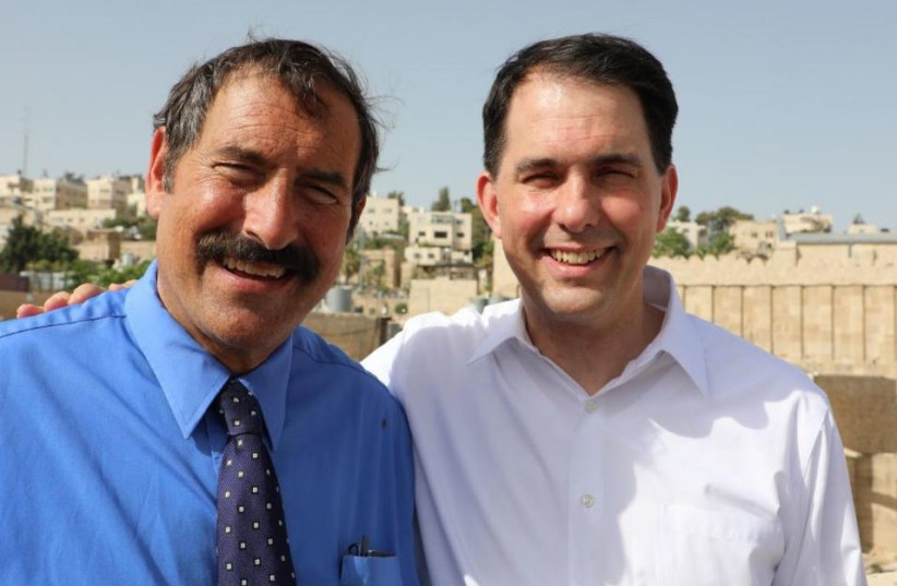 Former Wisconsin Governor Scott Walker with Dr. Joe Frager of the Nation Council of Young Israel during his trip to Israel  (photo credit: NATION COUNCIL OF YOUNG ISRAEL)