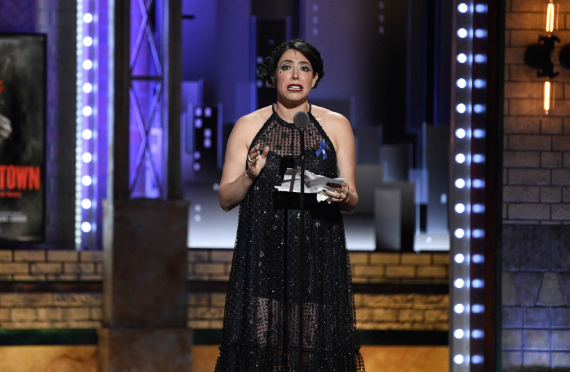 """Rachel Chavkin accepts the award for best direction of a musical for """"Hadestown"""" (photo credit: USA TODAY)"""