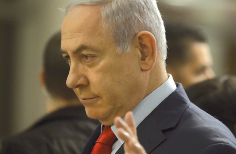 Prime Minister Benjamin Netanyahu in the Knesset on the fateful night of May 29, when the Knesset dissolved itself and set September 17 as the date for new elections (photo credit: MARC ISRAEL SELLEM)