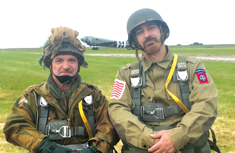 'DRAG EM Oot': The writer and brother-in-law Jason Gibbs ready to board the C-47 on June 5. (photo credit: MARK GRANAT)