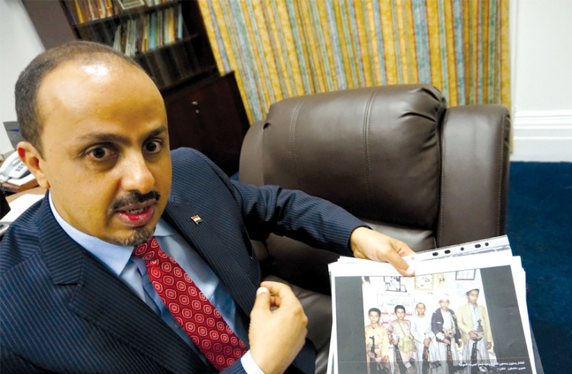 YEMENI INFORMATION Minister Moammar al-Eryani: 'The Houthis are now recruiting more than 50,000 children.' (photo credit: MICHAEL FRIEDSON/THE MEDIA LINE)