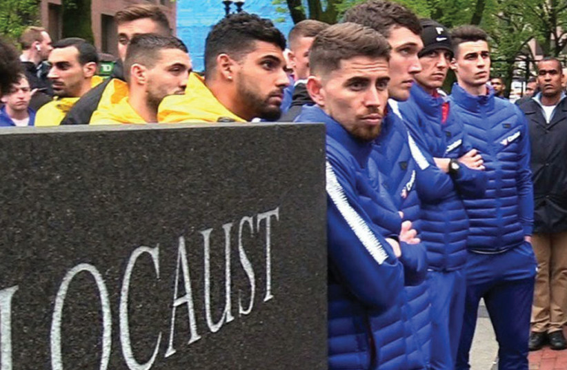 THE CHELSEA FOOTBALL Club visits the Holocaust Memorial in downtown Boston last month. (photo credit: Courtesy)