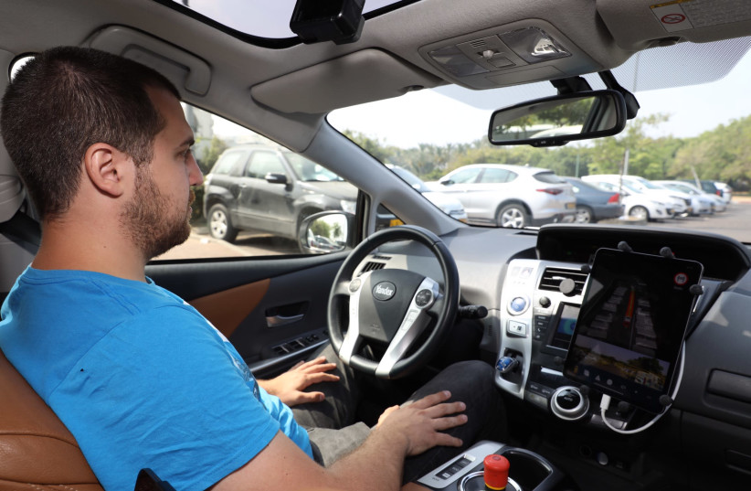 Yandex's autonomous car on a test drive in Tel Aviv, June 12, 2019 (photo credit: MARC ISRAEL SELLEM/THE JERUSALEM POST)