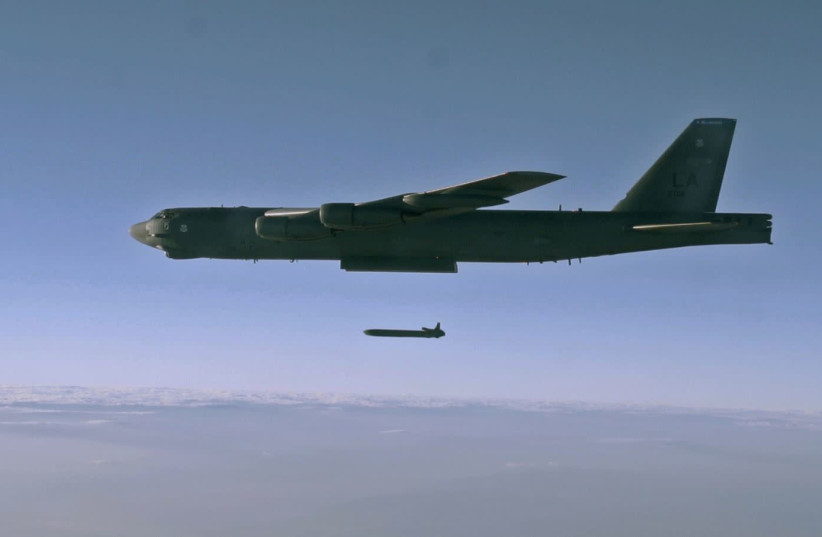 An unarmed AGM-86B Air-Launched Cruise Missile is released from a B-52H Stratofortress over the Utah Test and Training Range during a Nuclear Weapons System Evaluation Program sortie, 80miles west of Salt Lake City, Utah, U.S., September 22, 2014. Picture taken September 22, 2014. (photo credit: REUTERS)