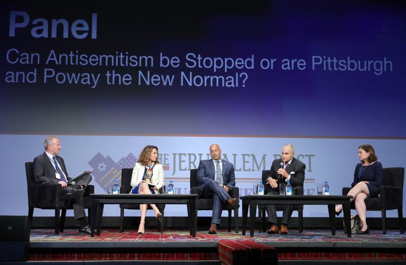 Raymond W. Kelly, Bruce Buck, Brooke Goldstein, Doron Horowitz and Caroline B. Glick speaking at the Jerusalem Post Annual Conference (photo credit: MARC ISRAEL SELLEM/THE JERUSALEM POST)