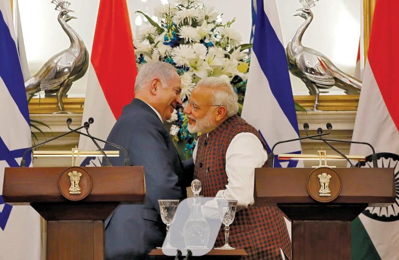PRIME MINISTER Benjamin Netanyahu and India's Prime Minister Narendra Modi (photo credit: REUTERS)