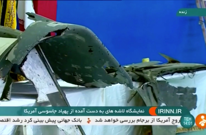 Iranian TV shows purported retrieved sections of downed U.S. drone (photo credit: REUTERS)