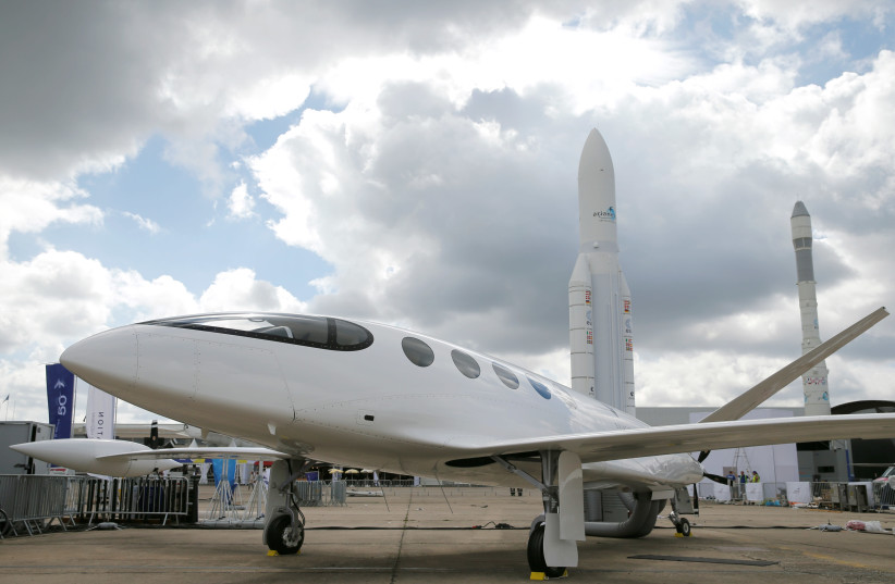 Israeli Eviation Alice electric aircraft is seen on static display, at the eve of the opening of the 53rd International Paris Air Show at Le Bourget Airport near Paris, France (photo credit: REUTERS)
