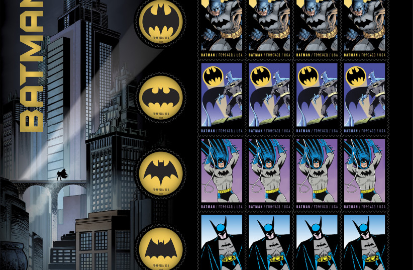 U.S. Postal Service stamps honoring the 75th anniversary of DC Comics' Batman character are seen in an undated handout image released by the U.S. Postal Service. The first-day-of-issue dedication ceremony for the Limited Edition Forever Batman Stamp Collection Set will take place in New York City (photo credit: REUTERS)