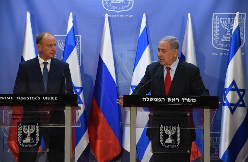 Prime Minsiter Benjamin Netanyahu meets with Russia's National Security Council head Nikolai Patrushev (photo credit: CHAIM TZACH/GPO)