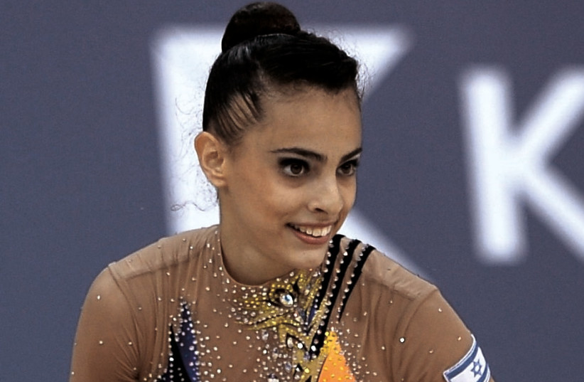 RHYTHMIC GYMNAST Linoy Ashram captured a gold medal for Israel yesterday at the European Games. Ashram has four overall medals so far in Minsk (photo credit: OLYMPIC COMMITTEE OF ISRAEL)