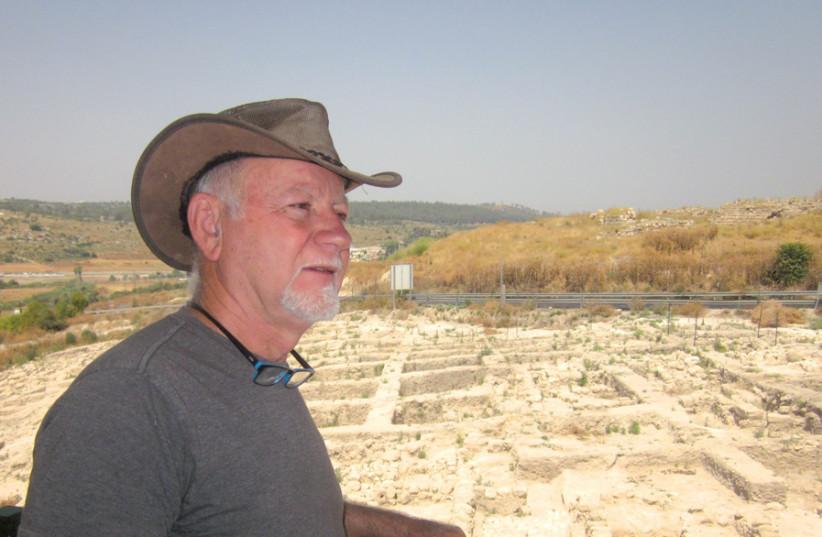 Dr. Yudah Govrin at the archeological site at Tel Beit Shemesh (photo credit: MORDECHAI BECK)