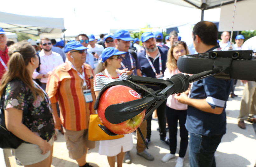 A fruit-picking drone designed by Tevel Aerobotics Technologies on display at Agriisrael 4.0, June 25, 2019  (photo credit: HAGAY OFFEN)