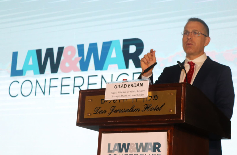 Minister Gilad Erdan at the Law and War Conference  (photo credit: Courtesy)