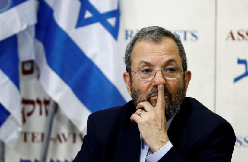 Former Israeli Prime Minister Ehud Barak gestures after delivering a statement in Tel Aviv, Israel June 26, 2019 (photo credit: CORINNA KERN/REUTERS)