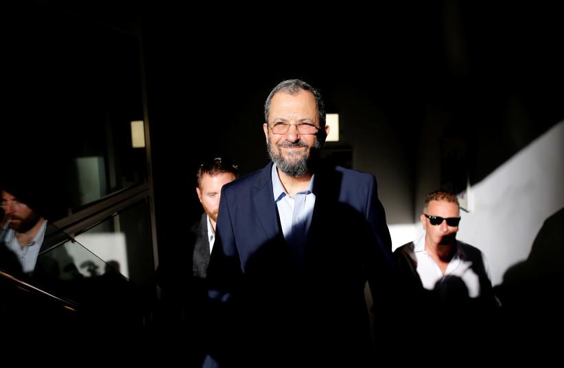Former Israeli Prime Minister Ehud Barak arives before delivering a statement in Tel Aviv, Israel June 26, 2019 (photo credit: CORINNA KERN/REUTERS)