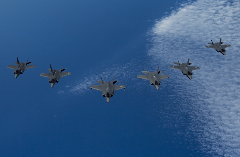 US Air Force F-35A Lightning IIs, center, lead a formation of IAF F-35I, right, and Royal Air Force F-35B, left, during Exercise Tri-Lightning over the Mediterranean Sea, June 25, 2019 (photo credit: US AIR FORCE/STAFF SGT. KEIFER BOWES)