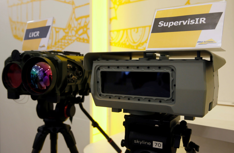 SupervisIR (R), a ground-based infrared surveillance system, is seen during a preview presentation at Elbit Systems, Israel's biggest publicly listed defense firm, in Netanya, Israel (photo credit: BAZ RATNER/REUTERS)
