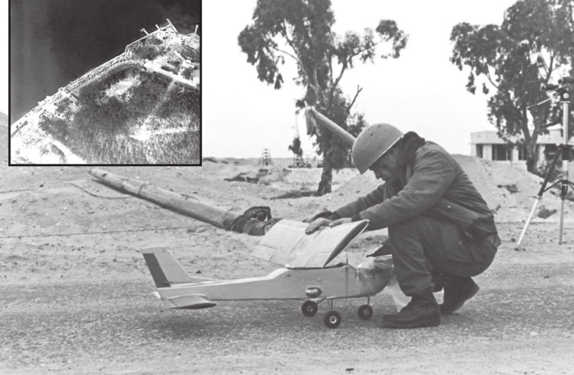 A REMOTE-CONTROLLED airplane is readied for its first flight over the Suez Canal in 1969, during which it took photographs of the Egyptian side of the waterway (inset) (photo credit: SHABTAI BRILL)