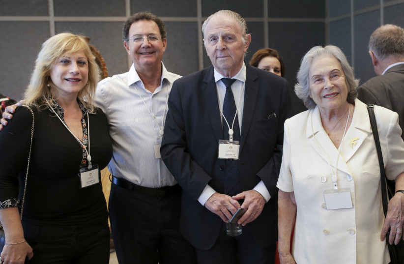 Ms. Shlomit Barnea, Member of the Award Committee, Mr. Arie Dubson, Chairman of the A.M.N. Foundation, Mr. Jaime Aron, Member of the Award Committee, and Prof. Ruth Arnon, Member of the Award Committee (photo credit: Courtesy)