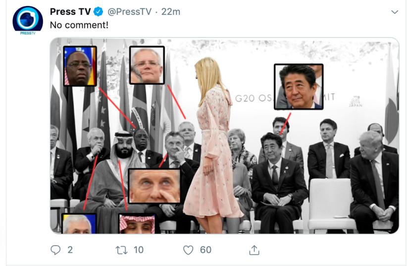 Tweet of G20 Leaders looking at Ivanka Trump (photo credit: SCREENSHOT FROM TWITTER)
