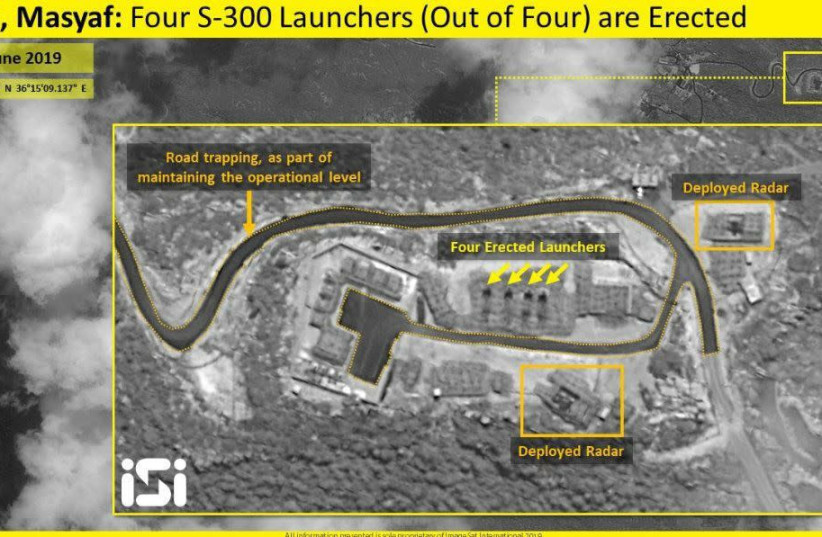 Satellite images released by Israeli intelligence firm ImageSat Intl. (ISI) on Sunday show the complete deployment of all four Russian-made S-300 missile defense systems in Syria's Masyaf province. (photo credit: IMAGESAT INTERNATIONAL (ISI))