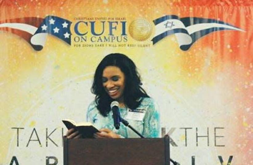 Destiny Albritton speaks at a CUFI on Campus event (photo credit: CUFI)