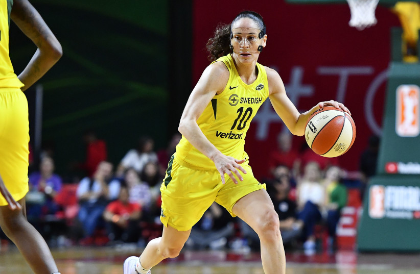 Sep 12, 2018; Washington, DC, USA; Seattle Storm guard Sue Bird (10) dribbles the ball against the Washington Mystics during the second quarter in game three of the WNBA Finals at Eagle Bank Arena. (photo credit: BRAD MILLS-USA TODAY SPORTS)