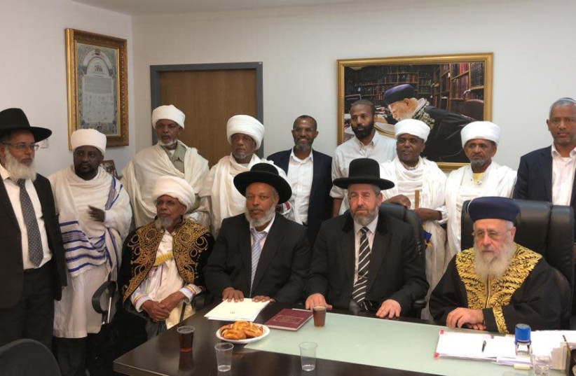 Chief rabbinate heads meet with the heads of the Ethiopian community in Israel (photo credit: CHIEF RABBINATE)