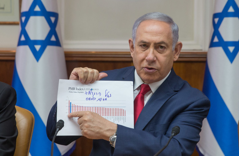 Prime Minister Benjamin Netanyahu on Iran at the weekly cabinet meeting (photo credit: OHAD TZVEIGENBERG‏)